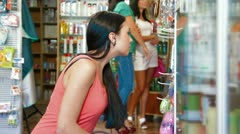 Female Customers in Cosmetics Store Stock Footage