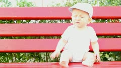 baby on bench - stock footage