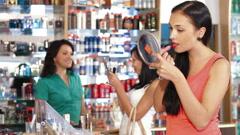 Women Shopping Cosmetics Stock Footage