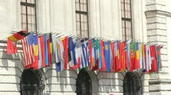 All nations flags Stock Footage