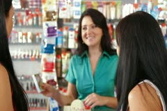 Shopping in Cosmetics Store Stock Footage