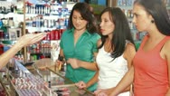 Female Friends Shopping for Cosmetics Stock Footage