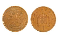 Old finnish monet one penny. Stock Photos