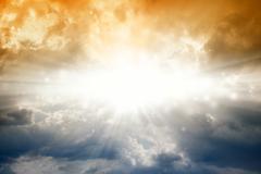 Bright sun in dark sky Stock Illustration
