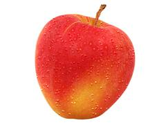red apple and water droops. - stock photo