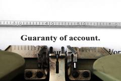 Guaranty of account Stock Photos