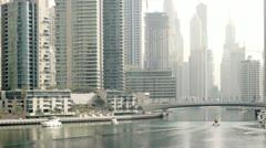 Dubai Marina Yacht on water Stock Footage