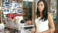 Woman Buying Beauty Care Products Stock Footage