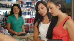 Female Customers Buying Beauty Care Products Stock Footage