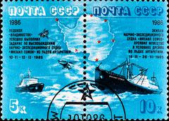 Postage stamp celebrate escape ships from antarctic Stock Photos