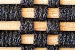 Woven Bamboo Placemat Macro - stock photo