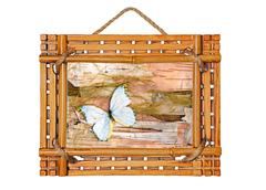 bamboo photo frame with abstract composition of butterflies, birch bark and s - stock photo
