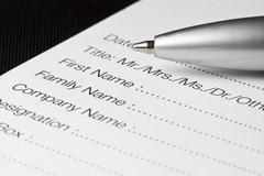 Registration form Stock Photos