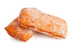 two donuts in powdered sugar - stock photo