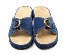 Blue slippers Stock Photos