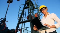 Female Engineer in an Oilfield Stock Footage