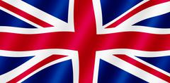 british union jack flag blowing in the wind illustration. - stock illustration