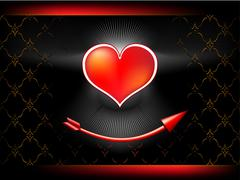Arrow of amur bent under a beautiful heart Stock Illustration