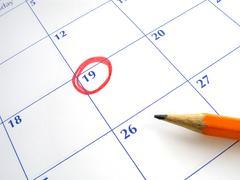 Kierteli päivämäärän kalenterista. Kuvituskuvat