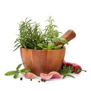 fresh flavoring herbs and spices in wooden mortar - stock photo