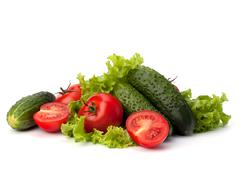 tomato, cucumber vegetable and lettuce salad - stock photo