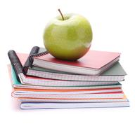 Notebook stack and apple. schoolchild and student studies accessories. back t Stock Photos