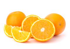 Sliced orange fruit segments  isolated on white background Stock Photos