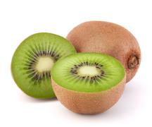 Whole kiwi fruit and his segments Stock Photos