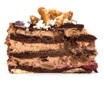 slice of chocolate cream cake - stock photo