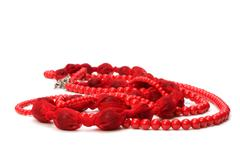 red beads isolated on white background - stock photo