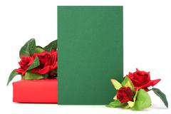 gift with floral decor. flowers are artificial. - stock photo