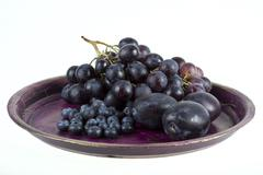 wine grapes and fruits - stock photo