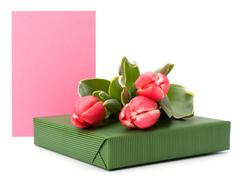 gift with pink tulips  isolated on white background - stock photo