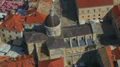 Dubrovnik aerial cathedral - stock footage