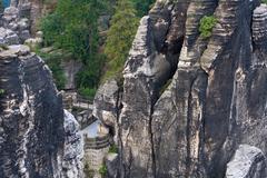 German national park sachsische schweiz. bastei bridge elements. Stock Photos