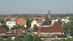 Germany Warnermunde town from above  Stock Footage