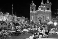 Religious Feast in Xaghra Square, Gozo Stock Photos