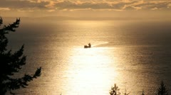 Freighter entering vancouver on Georgia Straight, British Columbia Stock Footage