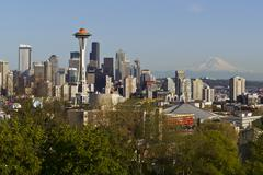 seattle city skyline in spring time - stock photo