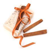 luxurious handmade cinnamon soap - stock photo