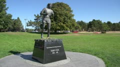 Terry Fox statue in Victoria, BC Stock Footage