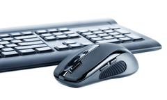 Wireless mouse and keyboard Stock Photos