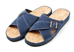 two blue slippers - stock photo