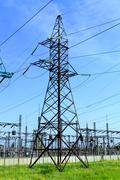 high tension power line - stock photo