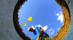 Golf ball hits hole V2 - HD  Stock Footage