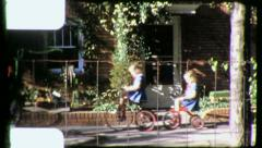 GIRLS Ride Bikes TRICYCLES Sisters 1940s (Vintage 8mm Film Home Movie) 4411 Stock Footage