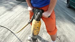 Man Using A Jackhammer Stock Footage