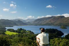 derwent water from castlehead viewpoint - stock photo