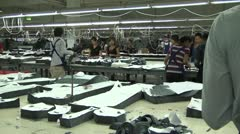 Asian Garment Industry Factory: Wide Shot Cutting Room - stock footage