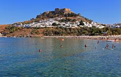 lindos beach - stock photo